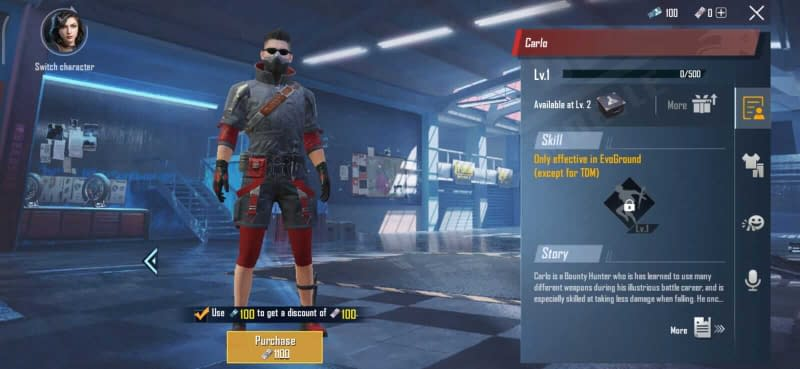 PUBG Mobile Carlo Character Free