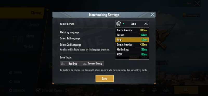 select the lowest ping server