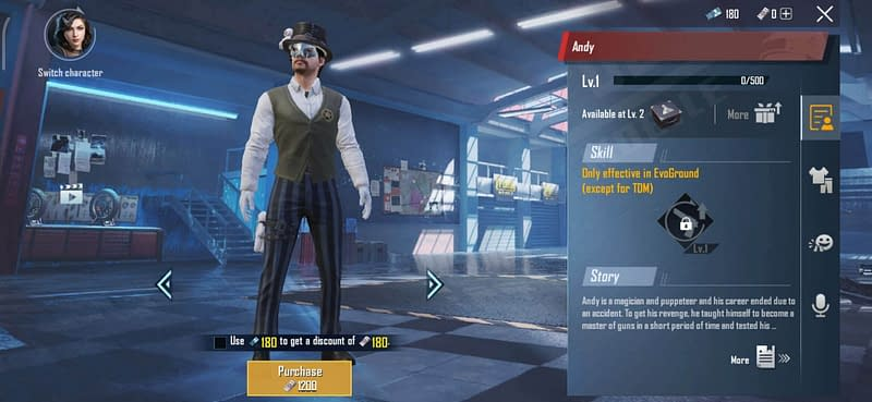 PUBG Mobile Andy Character cost 1200 uc